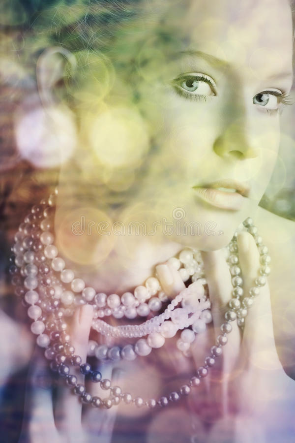 Download Blond beauty in pearls stock illustration. Image of adult - 13457655
