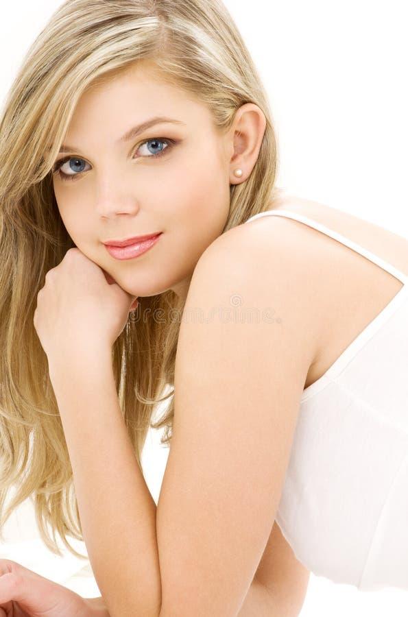 blond bielizny białe bawełniane obraz royalty free