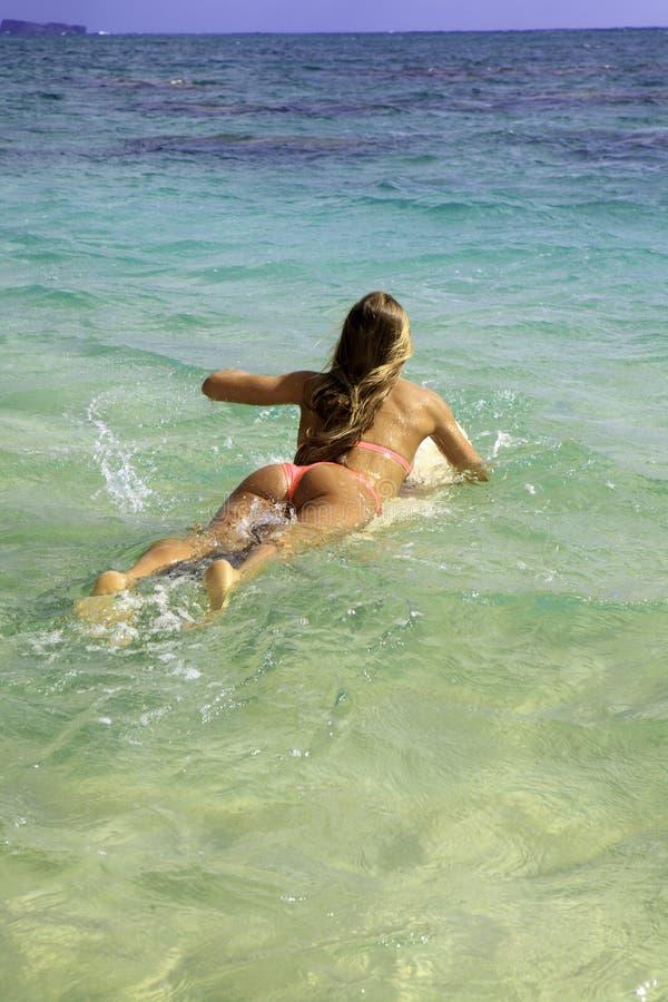 Blond In Bikini With Surfboard Stock Photography