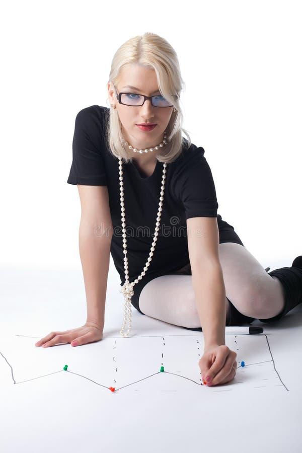 blond biznesowego wykresu szpilki punktu kobieta obraz royalty free