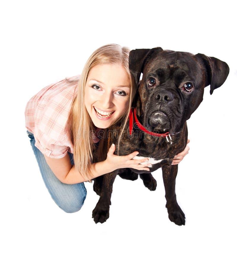 blond boxarehundkvinna fotografering för bildbyråer