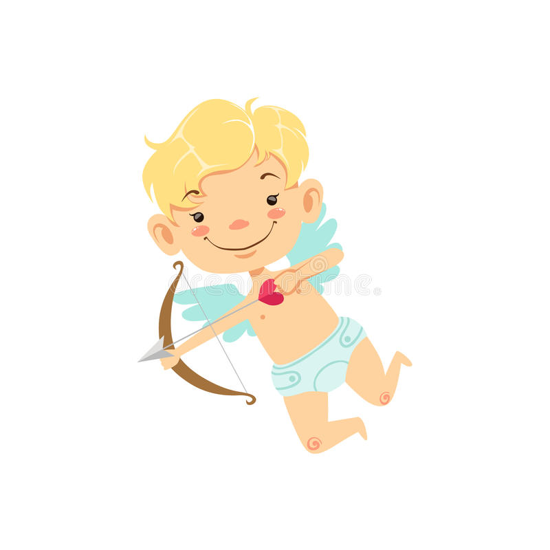Blond Boy Baby Cupid Winged Toddler In Diaper Adorable Love Symbol Cartoon Character. Happy Infant Cupid Saint Valentines Day Flat Vector Illustration royalty free illustration