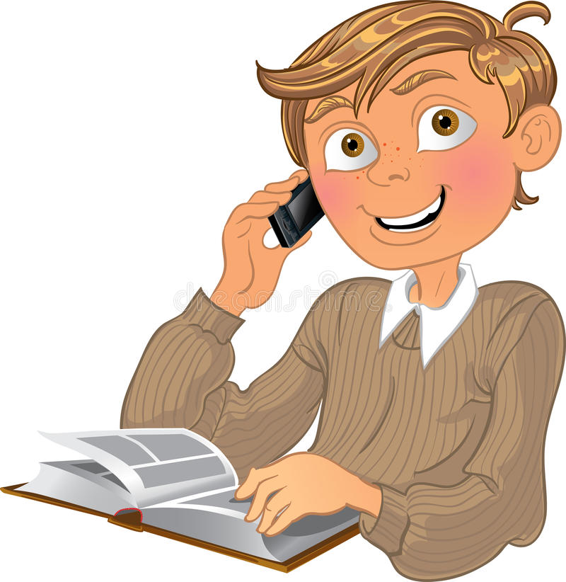 Blond boy and phone and book stock illustration