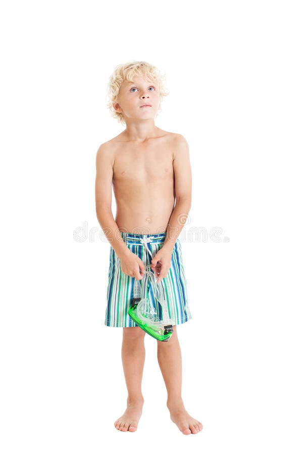 Download Blond Boy Wearing Swimming Shorts With Swimming Mask. Looking Up. Stock Photo - Image: 29769168