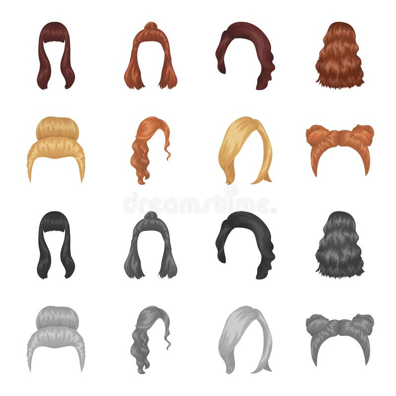 Blond with a bunch, red wavy and other types of hair. Back hair set collection icons in cartoon,monochrome style vector. Symbol stock illustration stock illustration