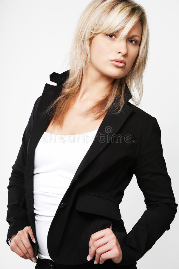 Blond business woman. royalty free stock photo