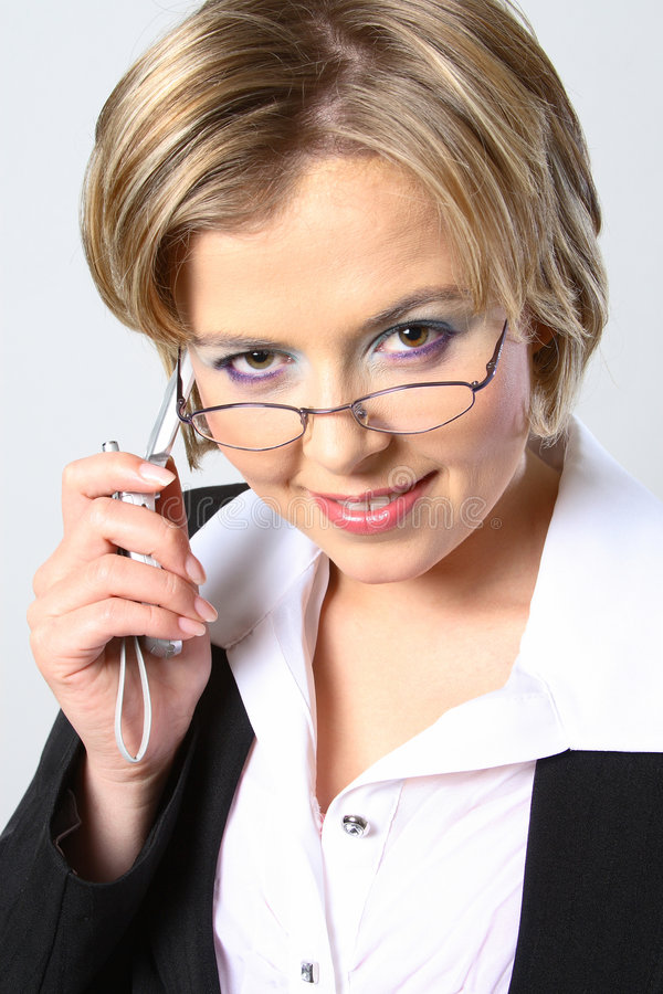 Download Blond Business Woman With Glasses Stock Image - Image of individual, busy: 1297431