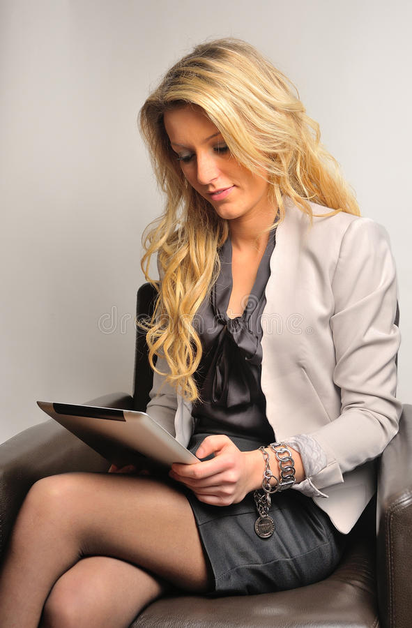 Blond Business Woman With Tablet Stock Photos Image