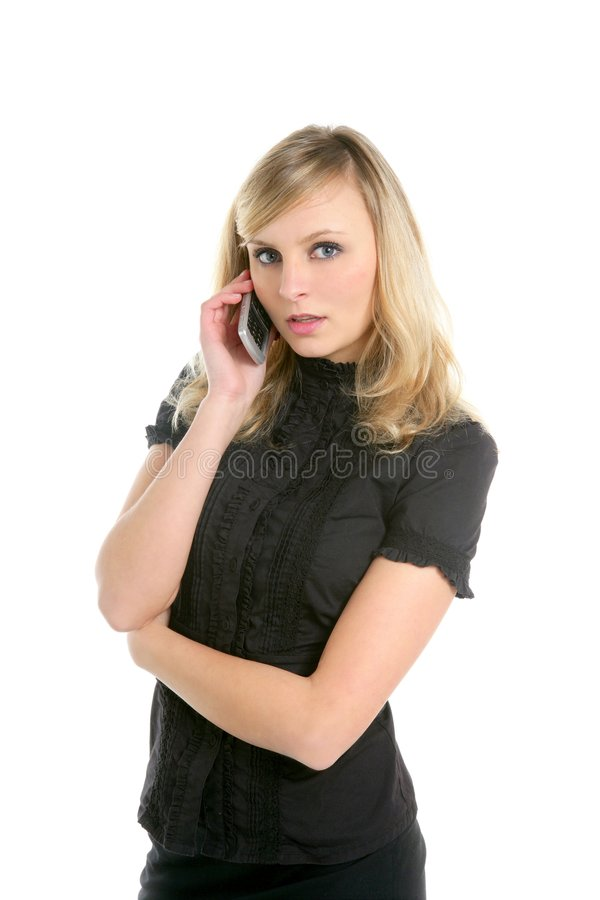 Blond Businesswoman Talking With Mobile Phone Royalty Free Stock Images