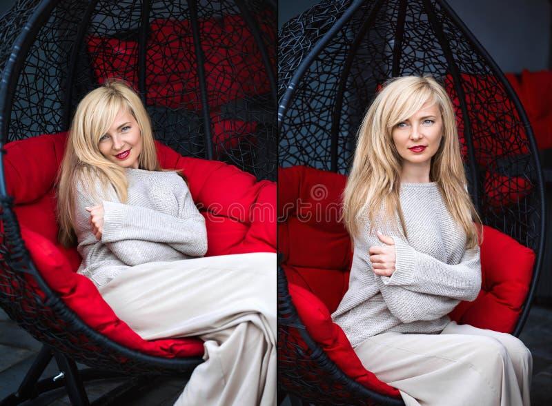 blond caucasian kvinna royaltyfri fotografi