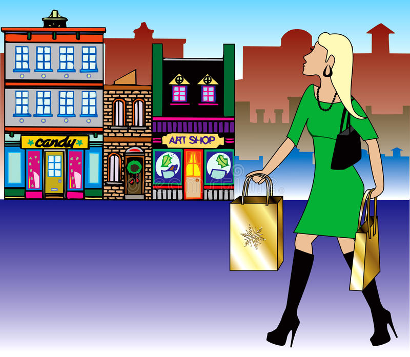 Blond Christmas Shopping Royalty Free Stock Photos