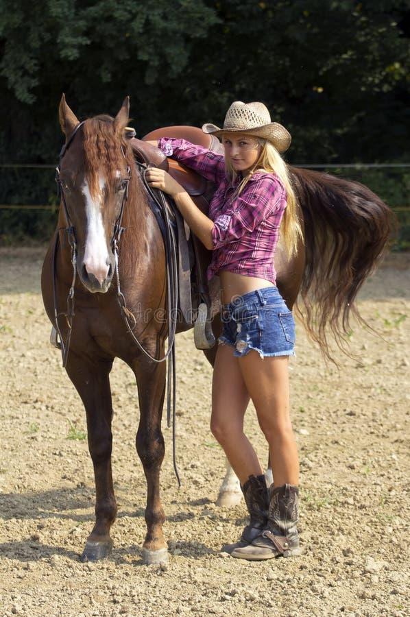 Blond cowgirl zdjęcia royalty free