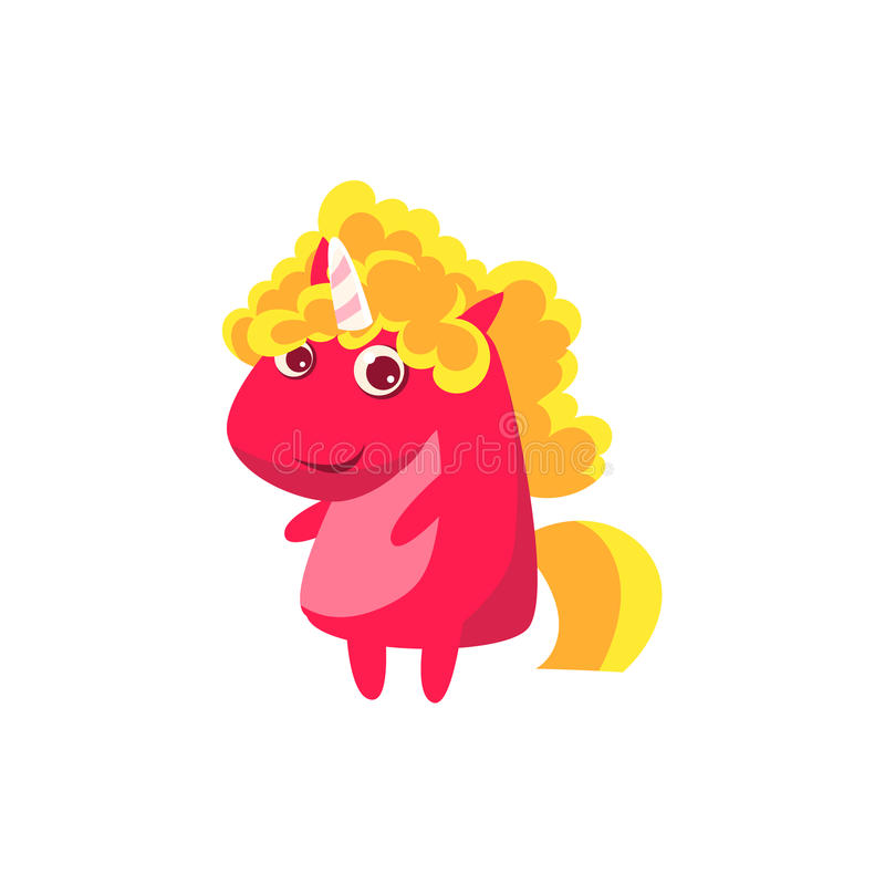 Blond Curly Girl Unicorn. Flat Bright Color Childish Cartoon Design Vector Illustration On White Background royalty free illustration