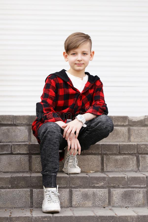 Blond cute boy royalty free stock photography