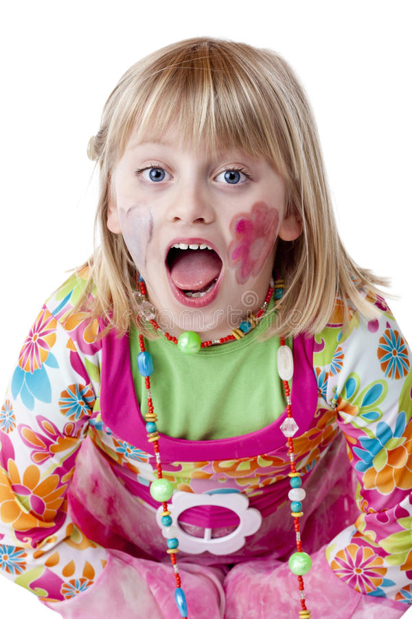 Download Blond Disguised Girl With Painted Cheeks Cries Royalty Free Stock Photo - Image: 19746375