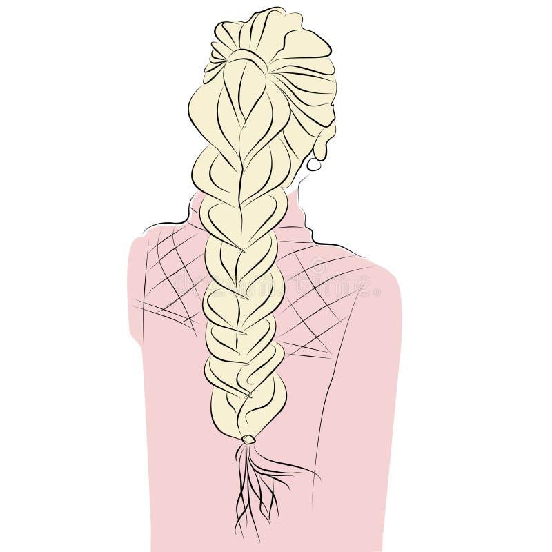 Blond dziewczyna z długimi warkoczy włosami stoi ona z powrotem Sylwetka kobieta royalty ilustracja
