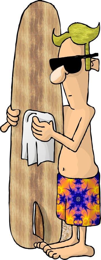 Download Blond Facet Jego Deska Tyłków Ilustracji - Ilustracja złożonej z śmieszny, surfingowiec: 46673