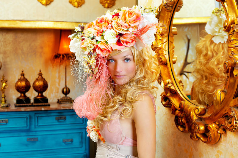 Download Blond Fashion Woman With Spring Flowers Hat Stock Photo - Image: 23036740