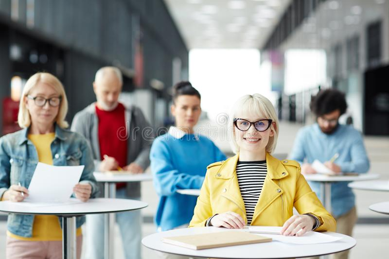 Blond female manager stock image