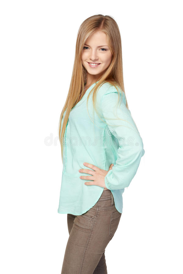 Blond female in mint color shirt stock photography