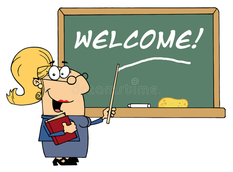 Blond female school teacher pointing to welcome on stock illustration