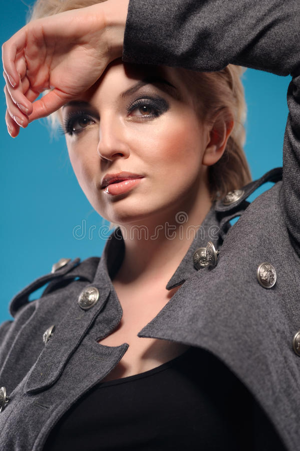 Blond femme fatale royalty free stock images