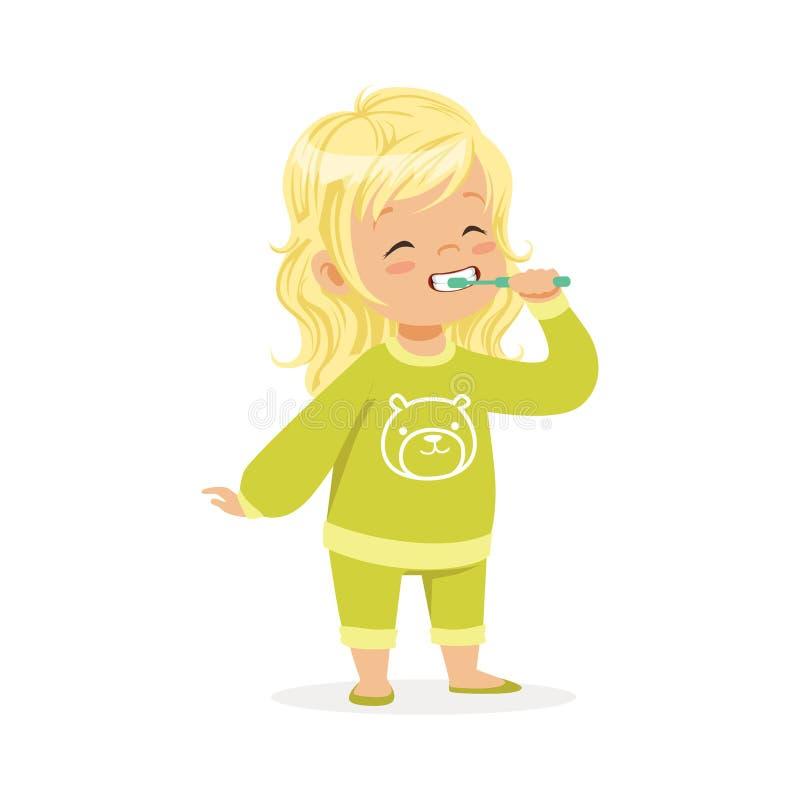 Blond flicka för härlig tecknad film i grön pyjamas som borstar hennes tänder, illustration för ungetandvårdvektor royaltyfri illustrationer