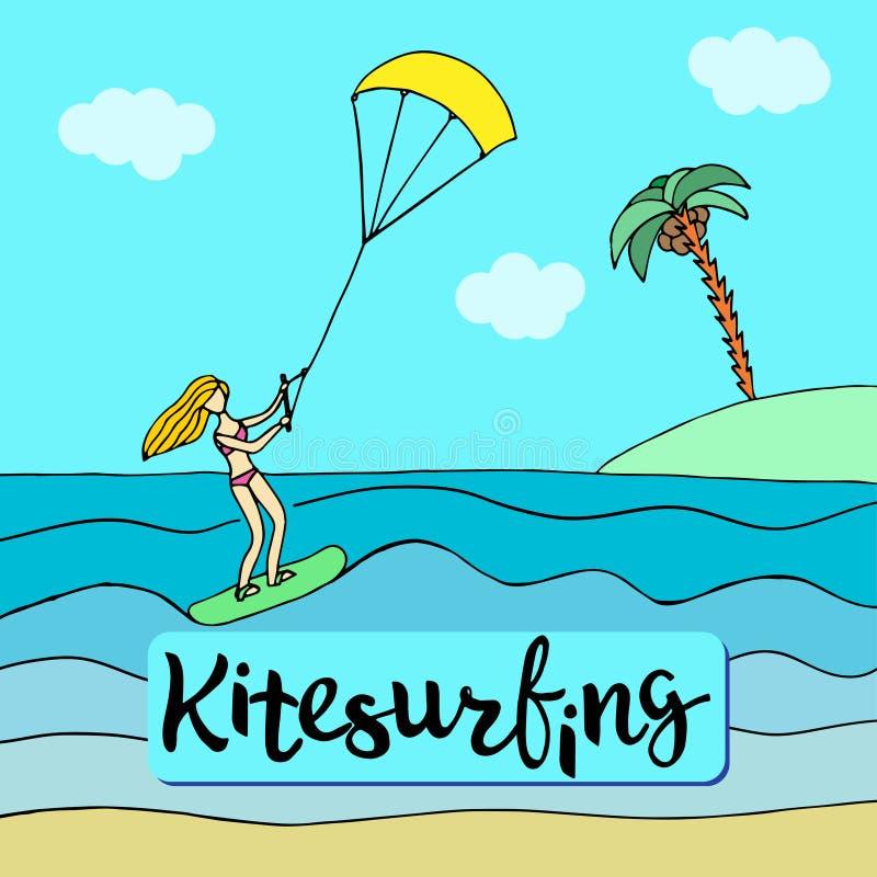 Blond flicka för sportar i rosa baddräktanseende på kiteboarden vektor illustrationer