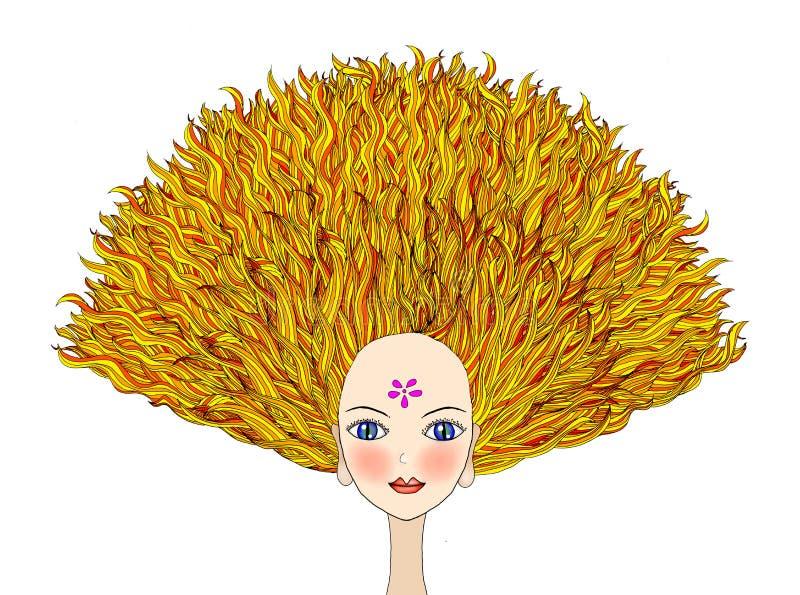 Blond flicka med dramatiskt hår royaltyfri illustrationer