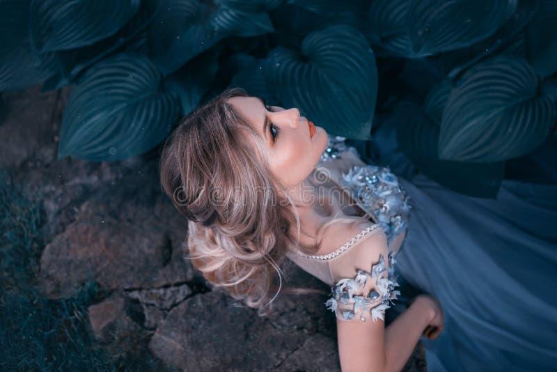 Blond flicka, med en härlig samlad frisyr Rosa hår är inte långt Prinsessagrå färg-blått ovanlig klänning Stående på a royaltyfri bild