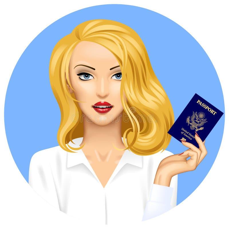 Blond flicka med ett amerikanskt pass i hand vektor illustrationer