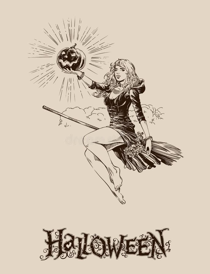 Blond flicka med pumpaflyg på den kvasthalloween illustrationen vektor illustrationer