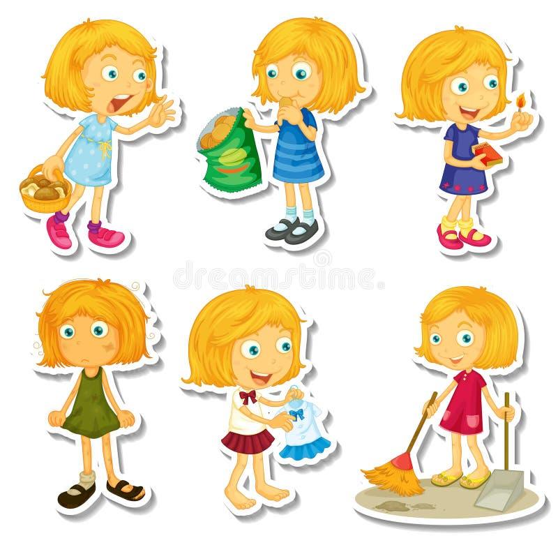 Blond flicka som gör olika aktiviteter vektor illustrationer