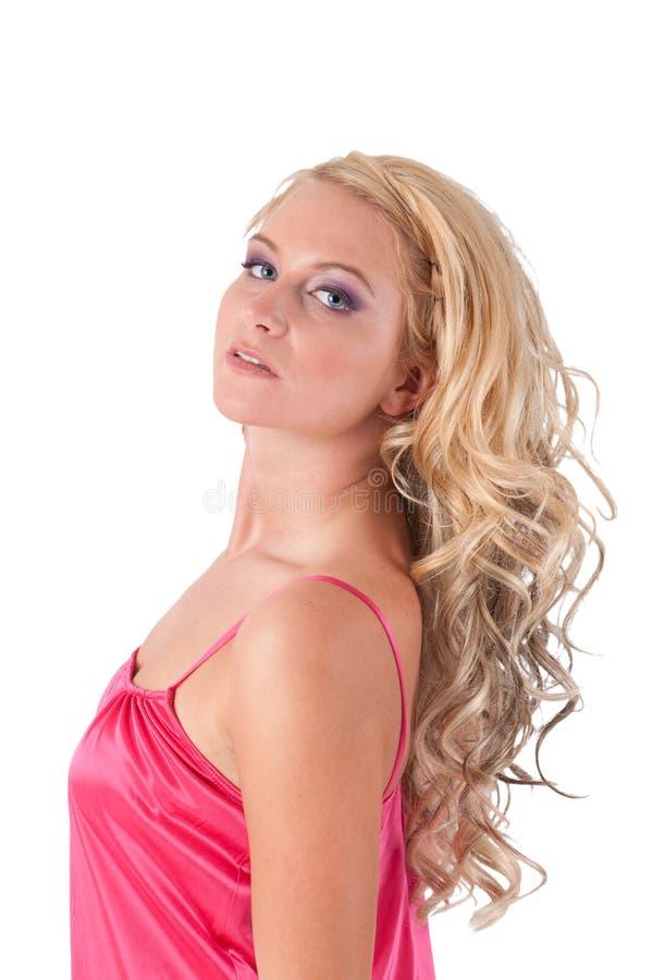 blond flickapinktunika arkivfoto