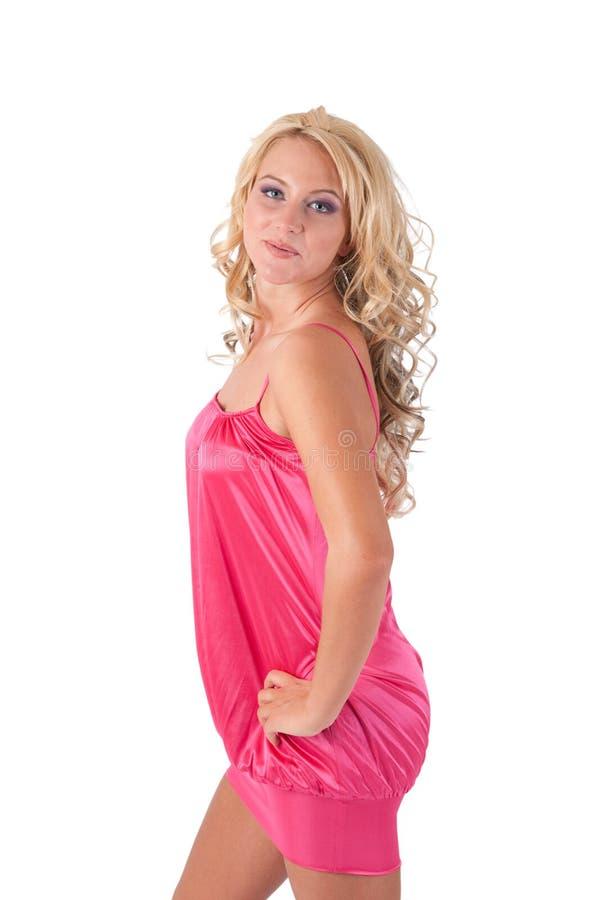 blond flickapinktunika arkivfoton