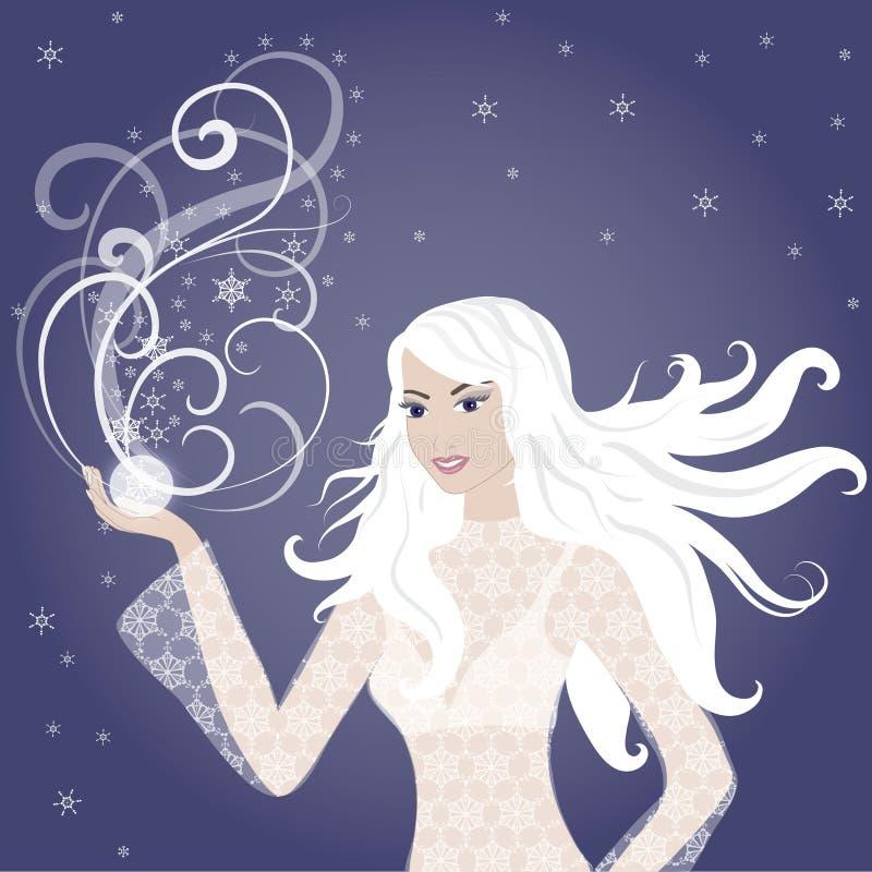 blond flickavektorvinter royaltyfri illustrationer
