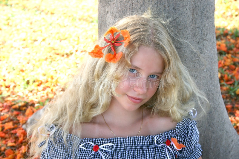 Download Blond girl stock image. Image of lifestyle, floral, nature - 7302531