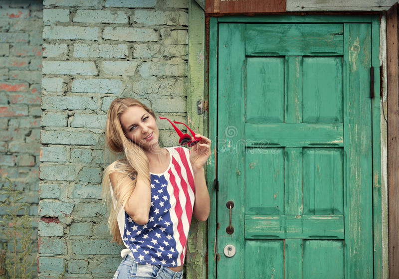 Blond Girl In American Retro Style Stock Photos
