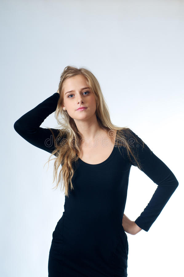 Download Blond Girl In Black stock photo. Image of blond, positive - 22406806