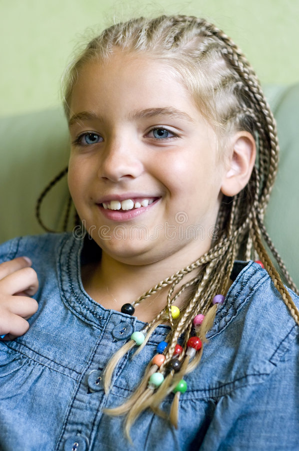 Download Blond girl in braids stock image. Image of jeans, grin - 5743505