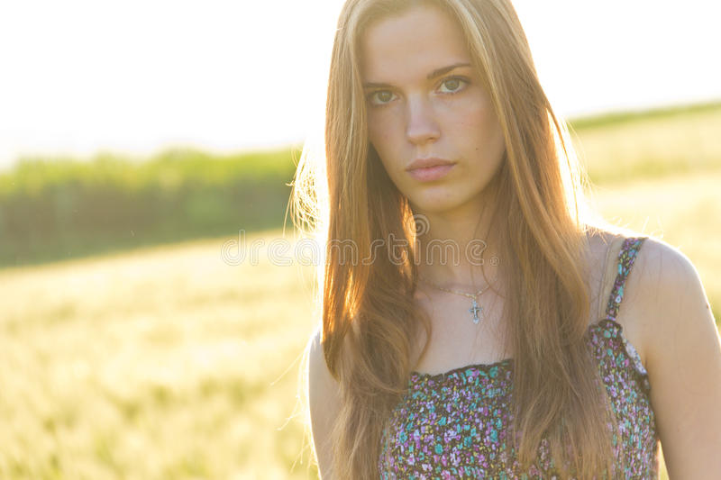 Download Blond girl in countryside stock illustration. Image of looks - 21520630