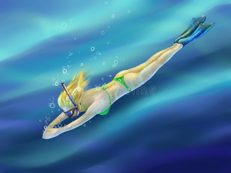 Blond girl diving in the sea royalty free illustration