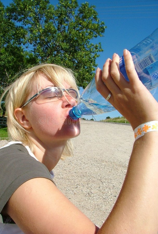 Download Blond girl drinking stock photo. Image of thirst, refresh - 156978