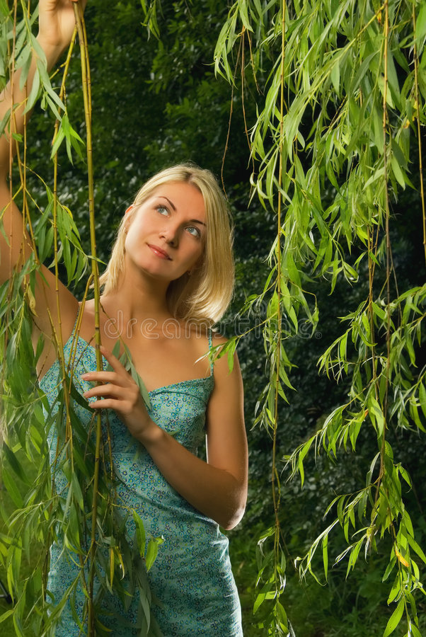 Blond girl in the forest stock photos