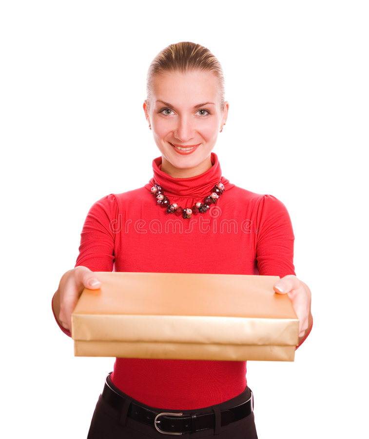 Blond girl with a gift box royalty free stock images