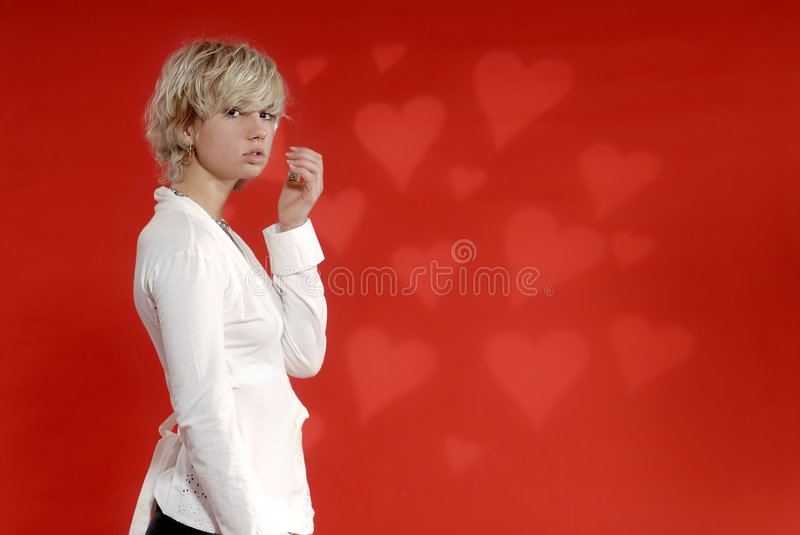 Blond Girl, Heart Background stock photos