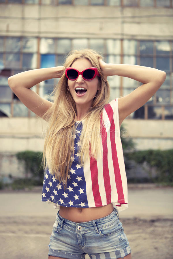 Download Blond Girl Holds Hands On Head And Screaming Stock Photo - Image of people, smile: 27078738