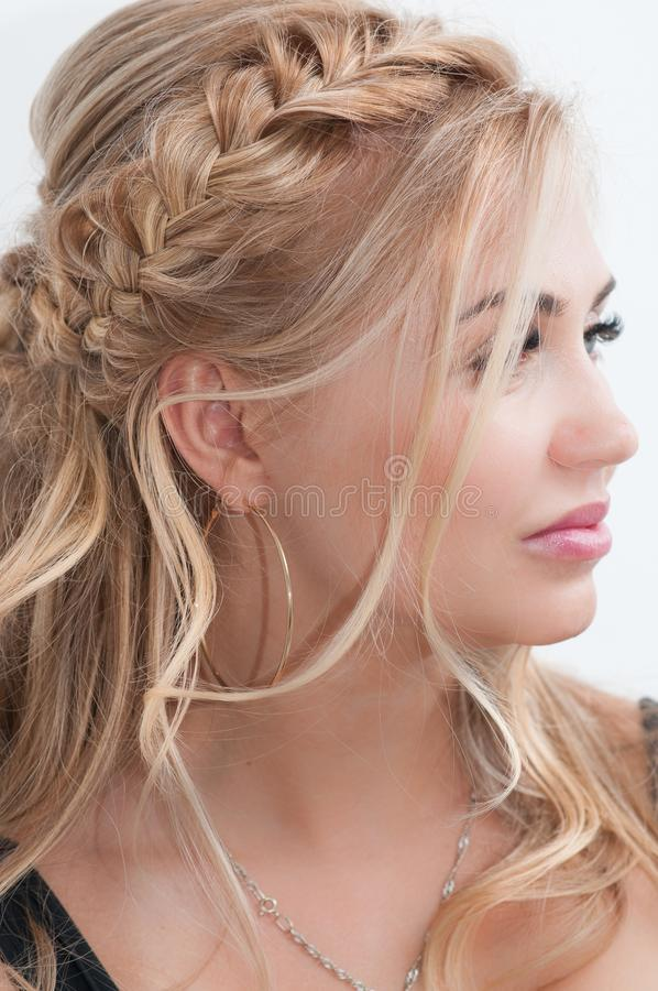Blond girl with long hair stock photo