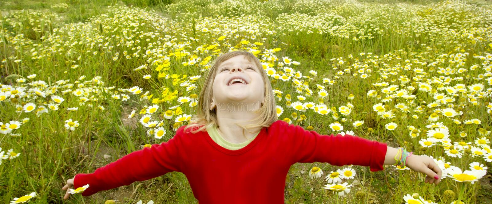 Blond girl open arms spring meadow daisy flowers stock image