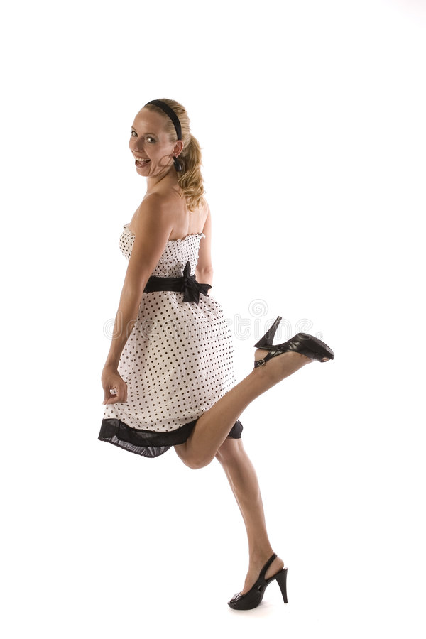 Download Blond Girl In Polka Dot Dress Stock Image - Image of happiness, background: 3039127